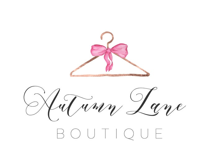 Premade Logo Design, Watercolor Logo, Feminine Logo, Boutique Logo, Fashion Logo, Clothing Designer Logo, Clothes Hanger Logo, Clothing Logo