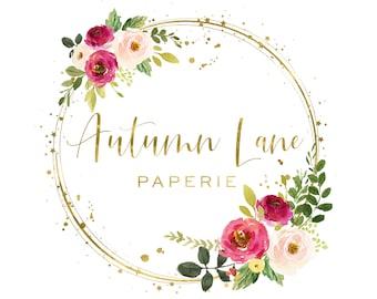 Premade Logo Design, Watermark Logo, Website Logo, Business Logo, Floral Logo, Watercolor Logo, Floral Monogram Logo, Circular Logo