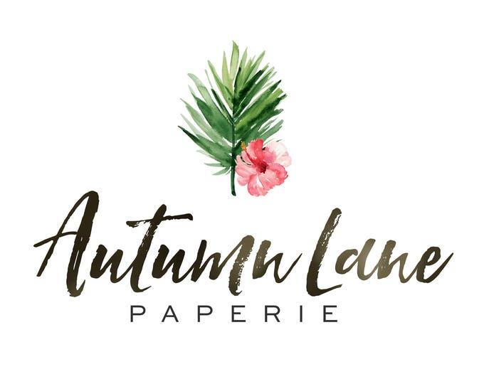 Premade Logo Design, Watermark Logo, Website Logo, Business Logo, Floral Logo, Watercolor Logo, Tropical Logo, Hibiscus Logo, Palm Logo