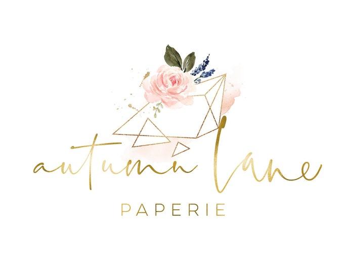 Premade Logo Design, Watermark Logo, Website Logo, Business Logo, Floral Logo, Watercolor Logo, Blush Pink Floral Logo, Geometric Logo