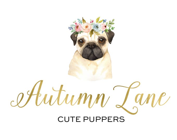 Premade Logo Design, Nature Logo, Watermark Logo, Modern Logo, Cute Puppy Logo, Dog Logo, Flower Crown Logo, Animal Logo, Floral Logo