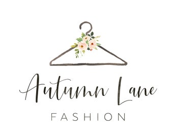 Premade Logo Design, Watercolor Logo, Feminine Logo, Boutique Logo, Fashion Logo, Floral Logo, Clothes Hanger Logo, Clothing Logo, Bouquet