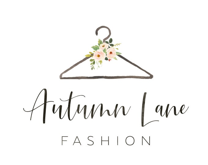 Premade Logo Design, Watercolor Logo, Feminine Logo, Boutique Logo, Fashion Logo, Floral Logo, Clothes Hanger Logo, Clothing Logo, Bouquet