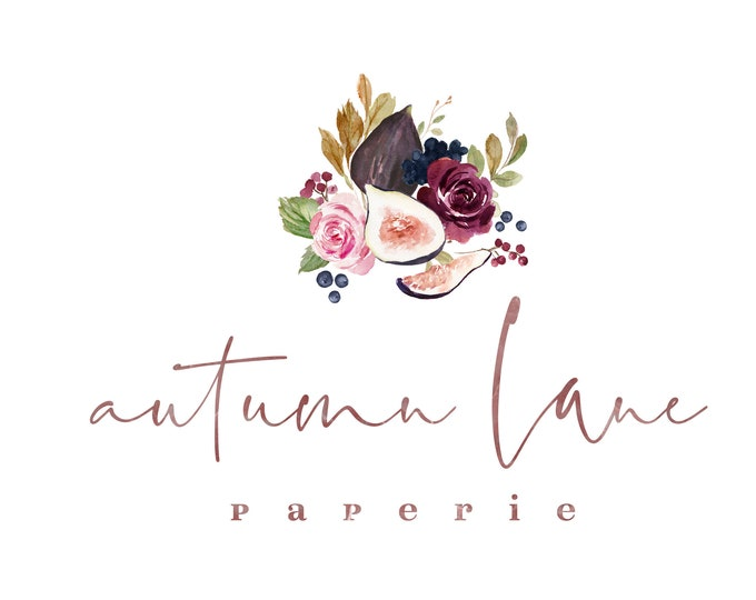 Premade Logo Design, Watermark Logo, Website Logo, Business Logo, Floral Logo, Watercolor Logo, Fig Logo, Fruit Logo, Rustic Logo