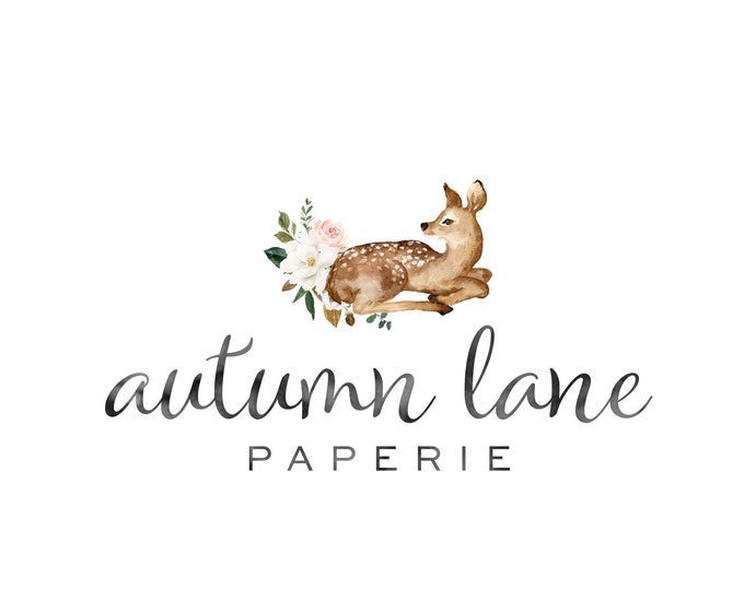 Premade Logo Design, Watermark Logo, Website Logo, Business Logo, Floral Logo, Watercolor Logo, Magnolia Logo, Cotton Logo, Deer Logo