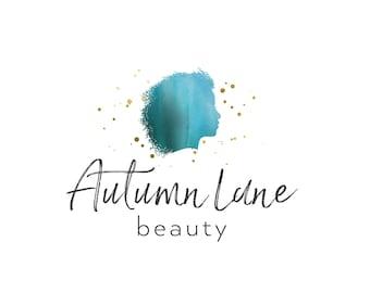 Premade Logo Design, Watercolor Logo, Feminine Logo, Beauty Logo, Makeup Artist Logo, Profile Logo, Hair Stylist Logo, Silhouette Logo