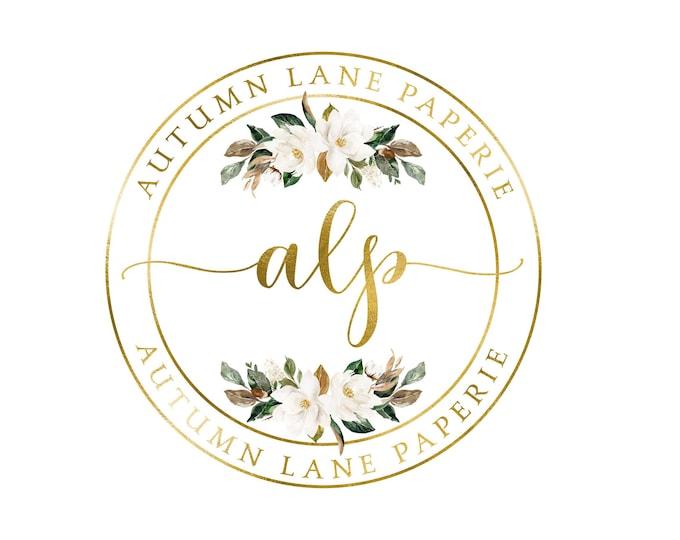 Premade Logo Design, Watermark Logo, Website Logo, Business Logo, Floral Logo, Watercolor Logo, Gold Circular Logo, Magnolia Logo