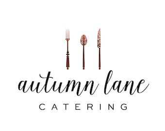 Premade Logo Design, Watermark Logo, Cutlery Logo, Watercolor Logo, Catering Logo, Chef Logo, Fork Logo, Knife Logo, Spoon Logo
