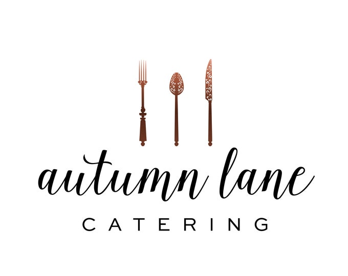 Premade Logo Design, Watermark Logo, Cutlery Logo, Watercolor Logo, Catering Logo, Chef Logo, Fork Logo, Knife Logo, Spoon Logo