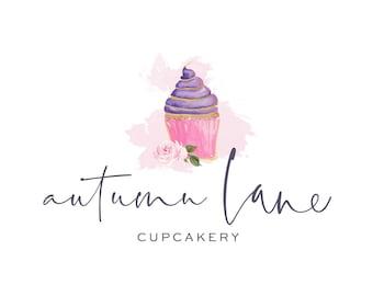 Premade Logo Design, Watermark Logo, Bakery Logo, Watercolor Logo, Floral Logo, Cupcake Logo, Dessert Logo, Pastry Chef Logo, Confections