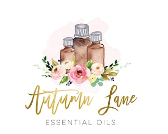 Premade Logo Design, Modern Logo, Watercolor Logo, Watermark Logo, Essential Oils Logo, EO Distributor Logo, Floral Logo, Health Logo, Oily