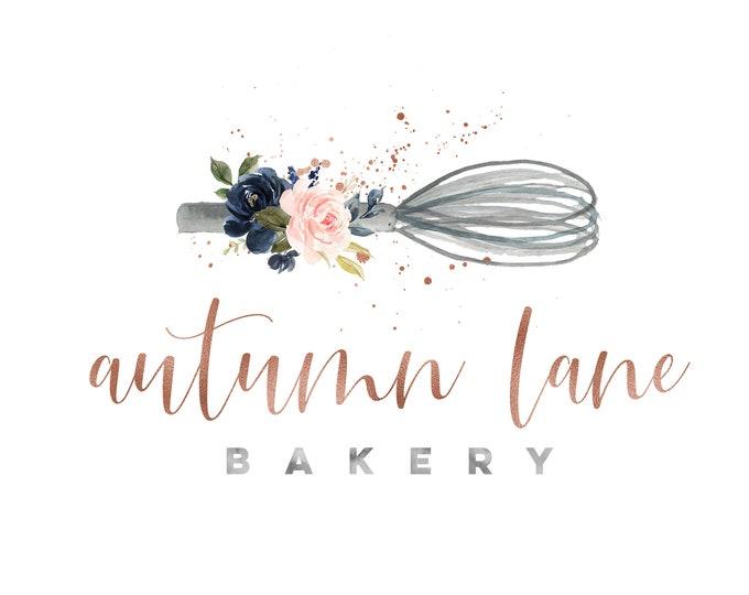 Premade Logo Design, Watermark Logo, Bakery Logo, Watercolor Logo, Floral Logo, Piping Bag Logo, Whisk Logo, Spoon Logo, Pastry Chef Logo