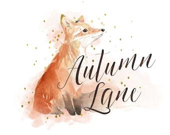 Premade Logo Design, Watermark Logo, Website Logo, Business Logo, Animal Logo, Watercolor Logo, Fox Logo, Autumn Logo, Rustic Logo