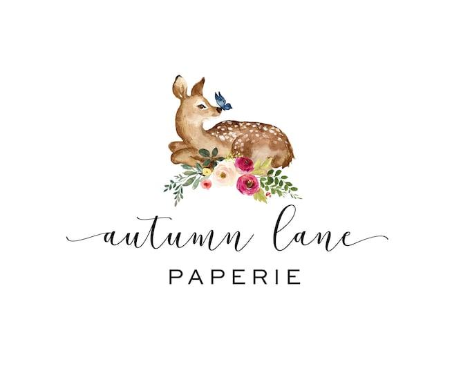 Premade Logo Design, Watermark Logo, Website Logo, Business Logo, Floral Logo, Watercolor Logo, Floral Branding, Deer Logo, Butterfly Logo