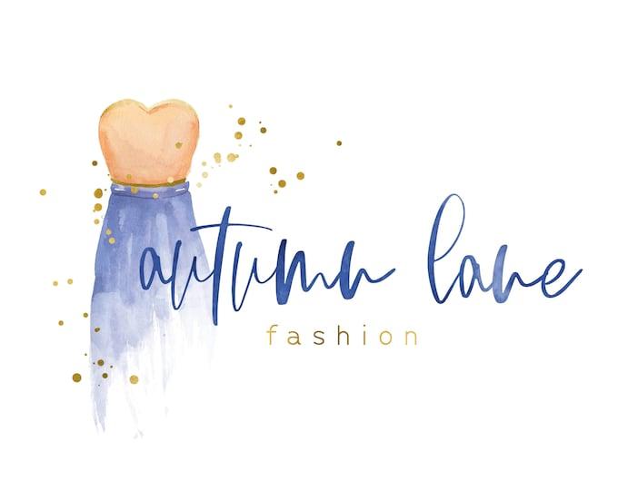Premade Logo Design, Watercolor Logo, Feminine Logo, Boutique Logo, Fashion Logo, Clothing Designer Logo, Floral Logo, Gold Foil Logo