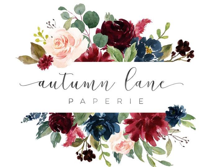 Premade Logo Design, Watermark Logo, Website Logo, Business Logo, Floral Logo, Watercolor Logo, Rose Logo, Calligraphy Logo, Elegant Logo