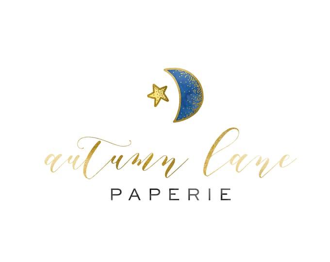 Premade Logo Design, Modern Logo, Watercolor Logo, Watermark Logo, Moon Logo, Star Logo, Celestial Logo, Children's Logo, Healer Logo