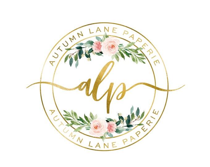 Premade Logo Design, Watermark Logo, Website Logo, Business Logo, Floral Logo, Watercolor Logo, Rose Logo, Circle Logo, Bouquet Logo