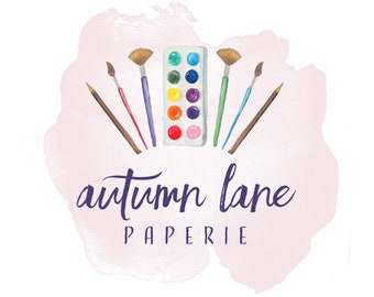 Premade Logo Design, Watermark Logo, Watercolor Logo, Watercolor Artist Logo, Painter Logo, Crafting Logo, Art Supply Logo, Palette Logo