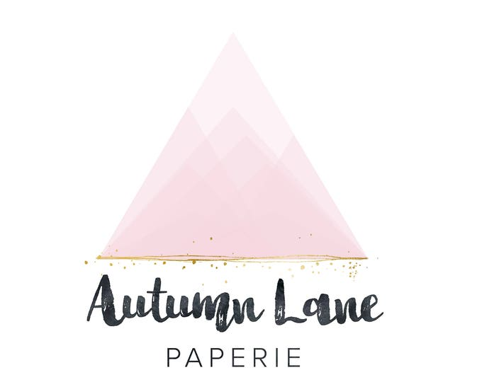 Premade Logo Design, Simple Logo, Geometric Logo, Watermark Logo, Modern Logo, Triangular Logo, Triangle Logo, Pink Logo, Mountain Logo