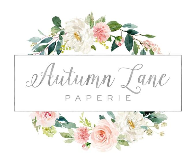 Premade Logo Design, Watermark Logo, Website Logo, Business Logo, Floral Logo, Watercolor Logo, Wreath Logo, Calligraphy Logo, Elegant Logo