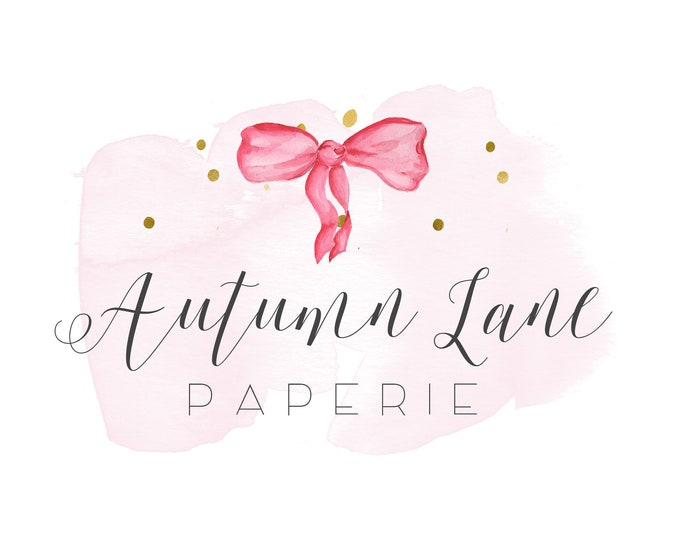 Premade Logo Design, Watermark Logo, Watercolor Logo, Bow Logo, Crafting Logo, Crafter Logo, Designer Logo, Hair Bow Logo, Kid's Bow Logo