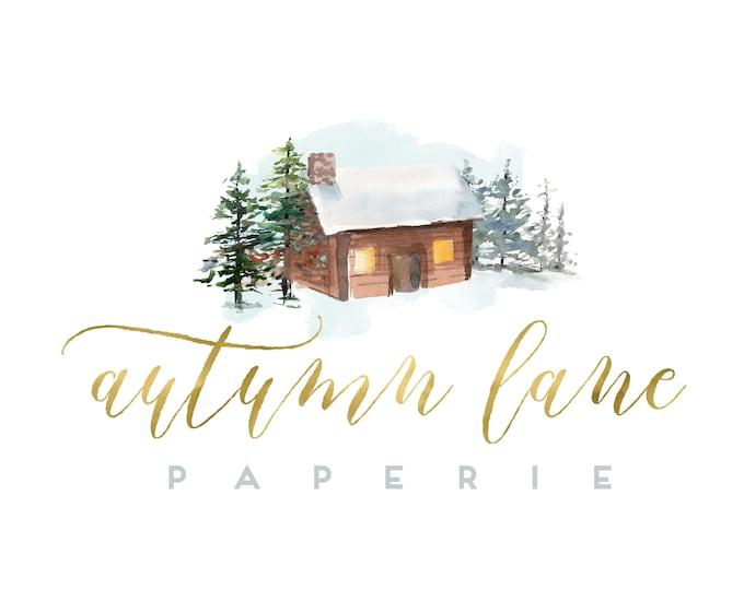 Premade Logo Design, Watermark Logo, Website Logo, Business Logo, Christmas Logo, Watercolor Logo, Winter Logo, Snow Logo, Cottage Logo