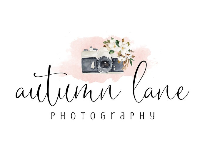 Premade Logo Design, Watermark Logo, Website Logo, Business Logo, Floral Logo, Watercolor Logo, Magnolia Logo, Cotton Logo, Camera Logo