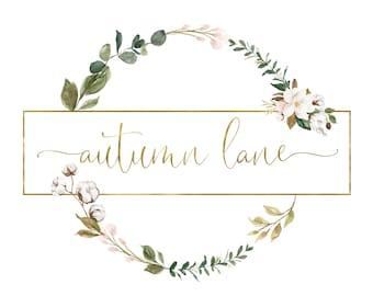 Premade Logo Design, Watermark Logo, Website Logo, Business Logo, Floral Logo, Watercolor Logo, Magnolia Logo, Cotton Logo, Southern Logo