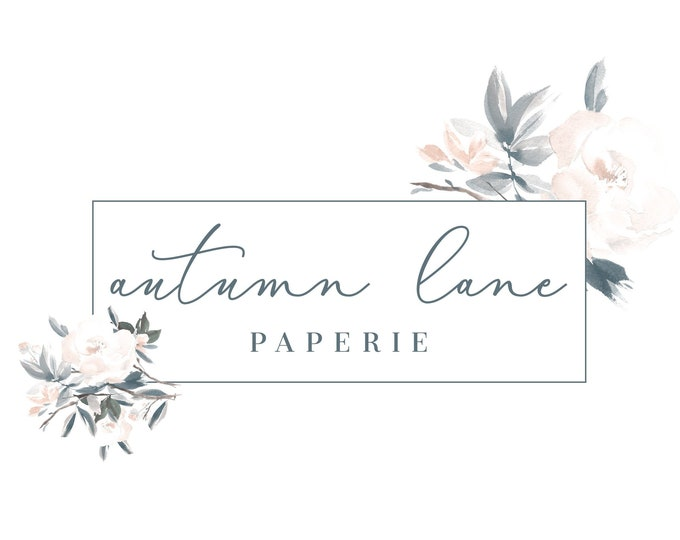 Premade Logo Design, Watermark Logo, Website Logo, Business Logo, Floral Logo, Watercolor Logo, Frame Logo, Botanical Logo, Vintage Logo