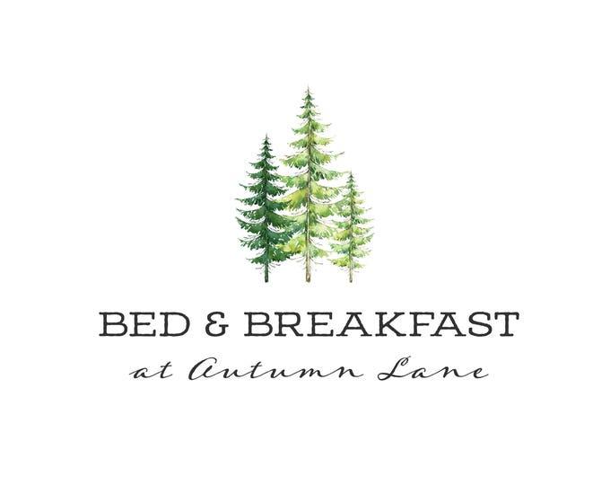 Premade Logo Design, Nature Logo, Watermark Logo, Modern Logo, Tree Logo, Conifer Logo, Evergreen Logo, Forest Logo, Green Logo, Pine Logo
