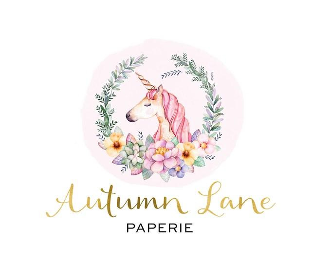 Premade Logo Design, Watermark Logo, Website Logo, Business Logo, Floral Logo, Watercolor Logo, Floral Branding, Unicorn Logo