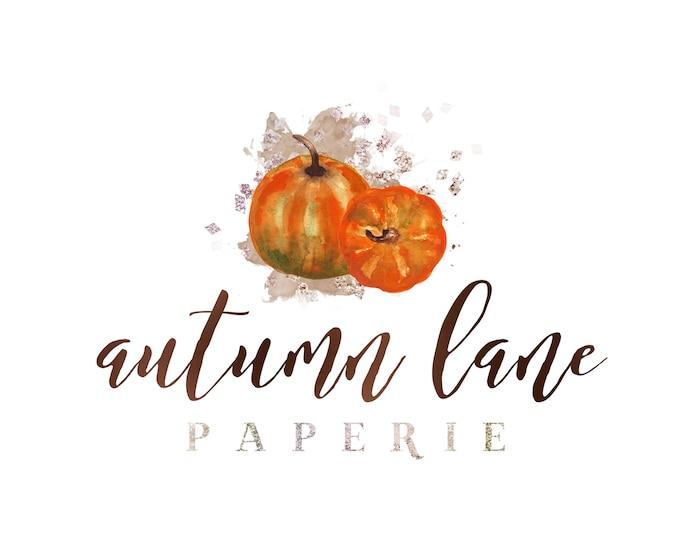 Premade Logo Design, Watermark Logo, Website Logo, Business Logo, Autumn Logo, Watercolor Logo, Fall Logo, Pumpkin Logo, Thanksgiving Logo