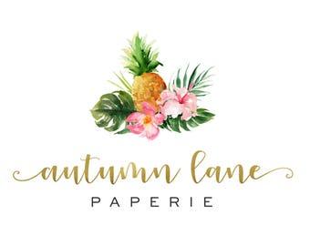 Premade Logo Design, Watermark Logo, Website Logo, Business Logo, Floral Logo, Watercolor Logo, Floral Branding, Pineapple Logo