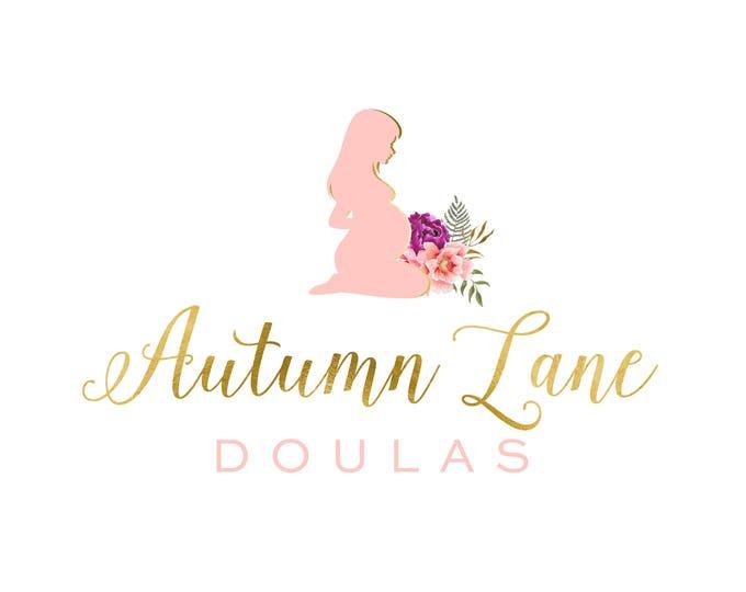Premade Logo Design, Modern Logo, Watercolor Logo, Watermark Logo, Doula Logo, Floral Logo, Pregnancy Logo, Family Logo, Midwife Logo