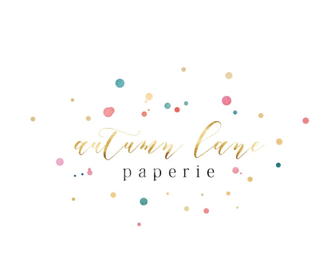 Premade Logo Design, Watermark Logo, Website Logo, Business Logo, Watercolor Logo, Confetti Logo, Party Logo, Modern Logo, Minimalist Logo