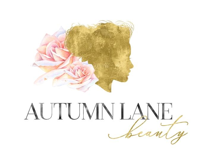 Premade Logo Design, Watercolor Logo, Feminine Logo, Beauty Logo, Makeup Artist Logo, Hair Stylist Logo, Floral Logo, Gold Foil Logo