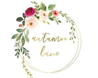 Premade Logo Design, Watermark Logo, Website Logo, Business Logo, Floral Logo, Watercolor Logo, Floral Branding, Elegant Logo, Floral Spray