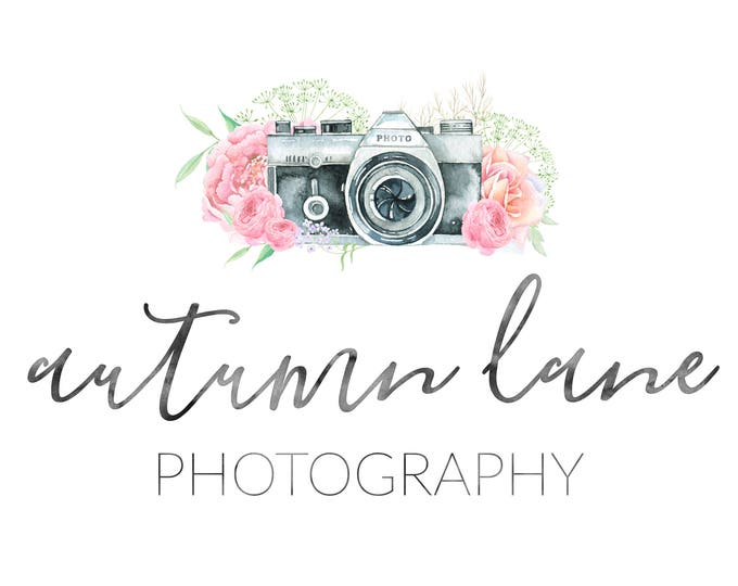 Premade Logo Design, Watermark Logo, Watercolor Logo, Photography Logo, Photographer's Logo, Camera Logo, Camera with Flowers Logo