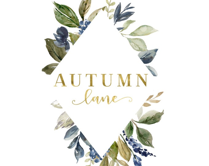 Premade Logo Design, Watermark Logo, Website Logo, Business Logo, Floral Logo, Watercolor Logo, Leaf Diamond Logo, Leaf Logo, Botanical Logo
