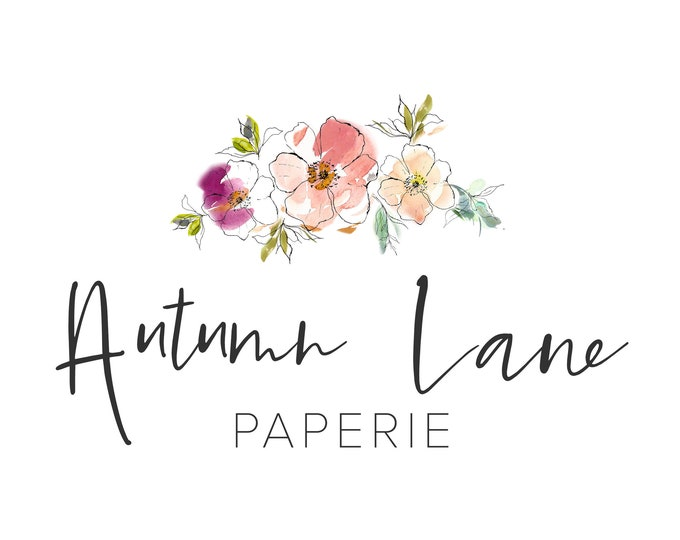 Premade Logo Design, Watermark Logo, Website Logo, Business Logo, Floral Logo, Watercolor Logo, Botanical Logo, Peach Rose Logo, Shabby Chic