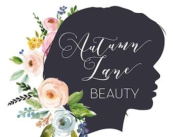 Premade Logo Design, Watercolor Logo, Feminine Logo, Beauty Logo, Makeup Artist Logo, Floral Logo, Silhouette Logo Hair Stylist Logo,