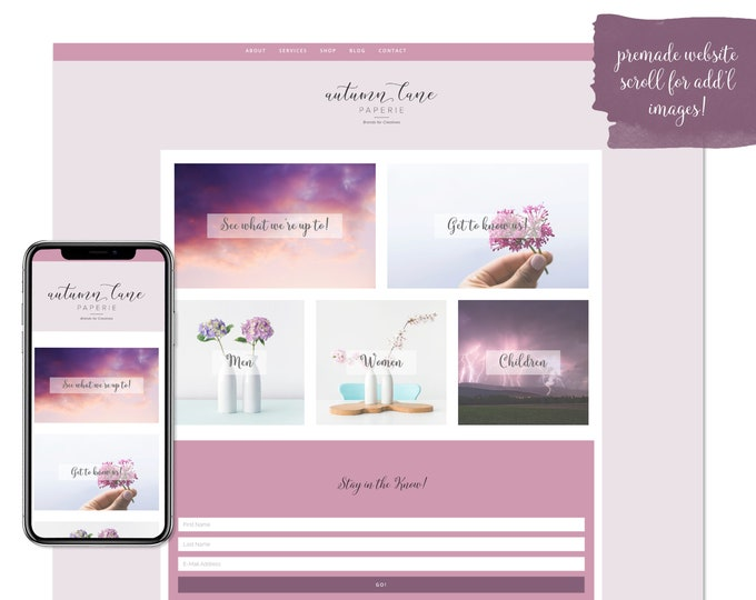 Pleasant Purple, Premade Website - Wordpress Website - Website Design - Branded Website - eCommerce Website - Blog - Mobile Friendly Website