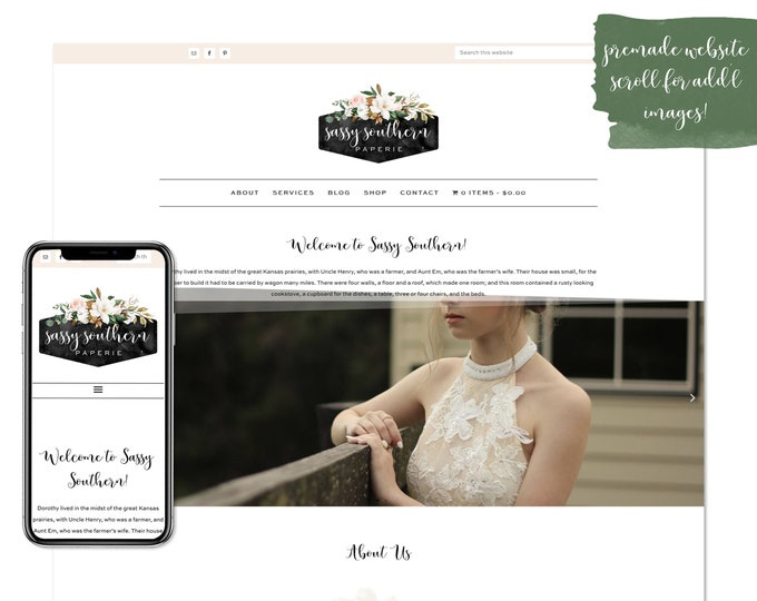 Sassy Southern, Premade Website - Wordpress Website - Website Design - Branded Website - eCommerce Website - Blog - Mobile Friendly Website