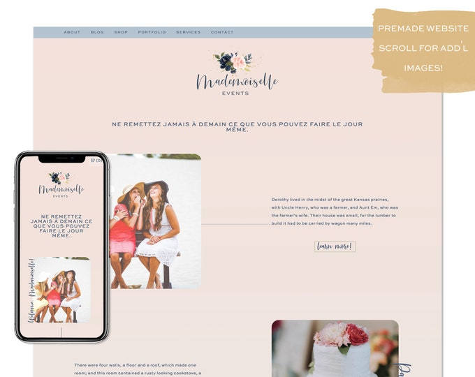 Mademoiselle, Premade Website - Wordpress Website - Website Design - Branded Website - eCommerce Website - Blog - Mobile Friendly Website