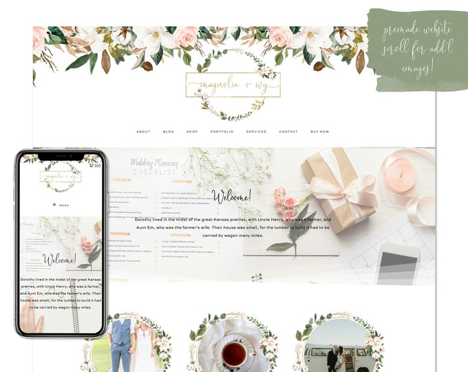 Magnolia & Ivy, Premade Website - Wordpress Website - Website Design - Branded Website - eCommerce Website - Blog - Mobile Friendly Website