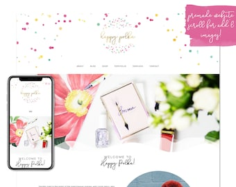 Happy Polka, Premade Website - Wordpress Website - Website Design - Branded Website - eCommerce Website - Blog - Mobile Friendly Website