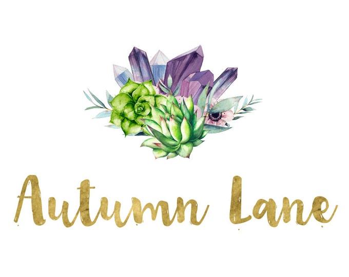 Premade Logo Design, Simple Logo, Text Logo, Watermark Logo, Modern Logo, Succulent Logo, Floral Logo, Cactus Logo, Botanical Logo