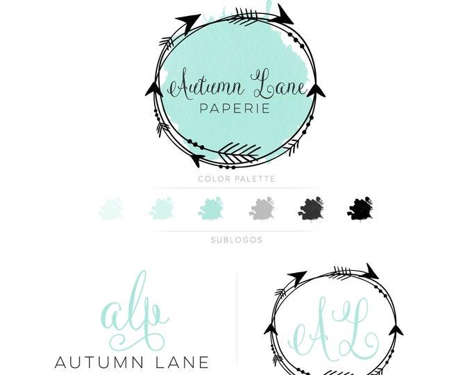 Premade Branding Kit - Branding Package - Logo Design - Premade Logo - Business Card Design - Watercolor Logo - Arrow Logo - Watermark