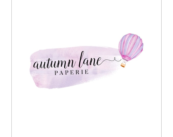 Premade Logo Design, Watermark Logo, Watercolor Logo, Hot Air Balloon Logo, Children's Brand Logo, Whimsical Logo, Purple Logo